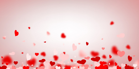 Love valentine's background with red and pink hearts. Vector illustration. Stock Illustratie