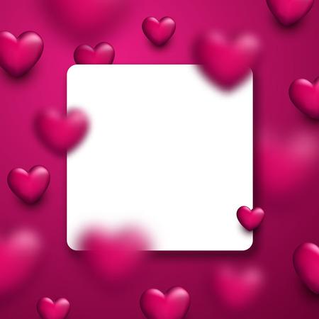 Valentinstag Platz rosa Liebe Hintergrund mit 3D-Herzen. Vektor-Illustration.