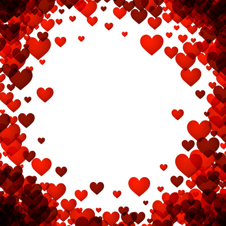 Love valentine's background with red hearts. Vector illustration.