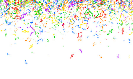 White musical background with colorful notes. Vector paper illustration.