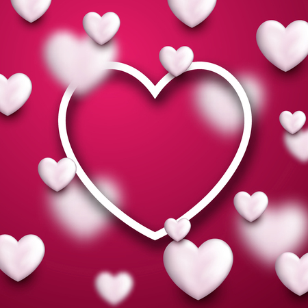 background pink: Valentines pink love background with white 3d hearts. Vector illustration.