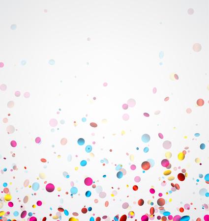 Festive striscione bianco con coriandoli colorati lucido. Illustrazione vettoriale.