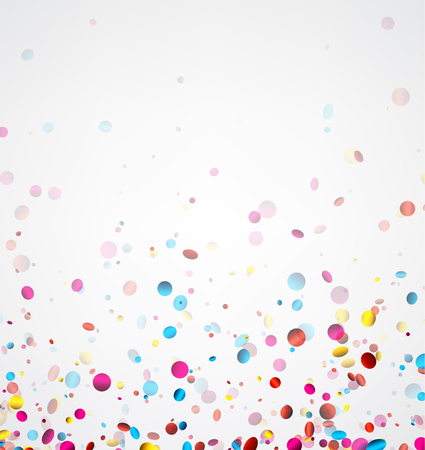 celebration background: Festive white banner with colorful glossy confetti. Vector illustration.