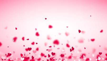 Rosa Hintergrund des Liebes-Valentinsgrußes mit unscharfen Herzen. Vektor-Illustration.