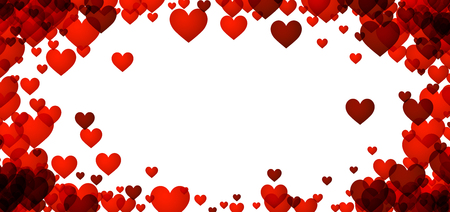 valentines background: Love valentines background with red hearts. Vector illustration. Illustration