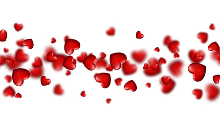 Valentines white love banner with red 3d hearts. Vector illustration.