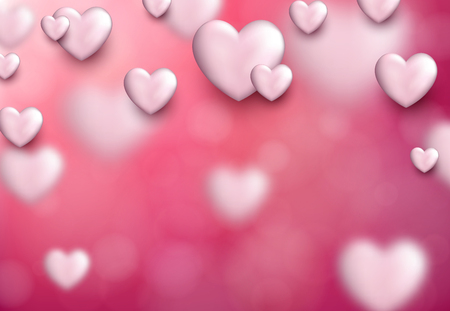 love declaration: Valentines pink love background with 3d hearts. Vector illustration. Illustration