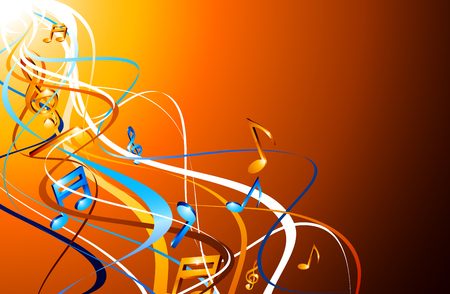 Orange abstract musical background with colorful notes. Vector illustration.