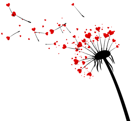 black and red: White Valentines background with love dandelion with hearts. Vector illustration.