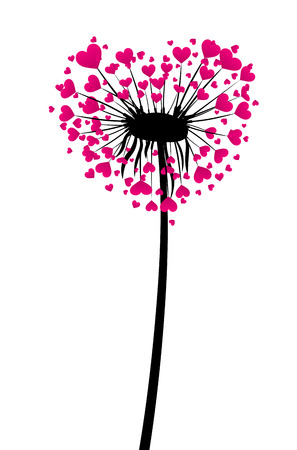 rosa negra: Valentines background with love dandelion with pink hearts. Vector illustration.