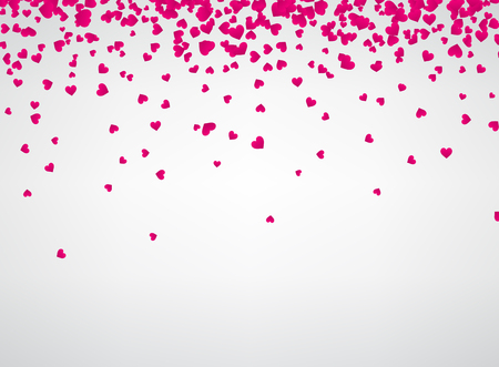 White love valentines background with pink hearts. Vector paper illustration.