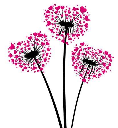 rosa negra: Valentines background with love dandelions with pink hearts. Vector illustration.