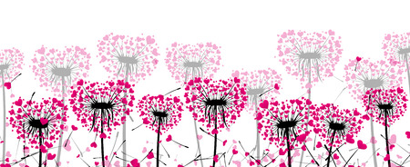 Valentines banner with love dandelions with pink hearts. Vector illustration.