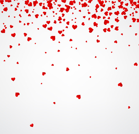 red and white: White love valentines background with red hearts. Vector paper illustration. Illustration