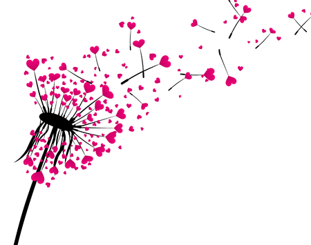 Valentine's background with love dandelion with pink hearts. Vector illustration.