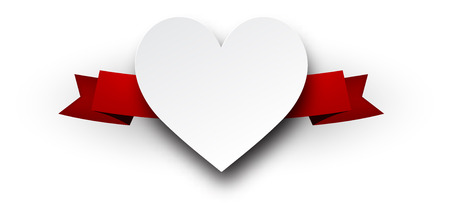 love declaration: White Valentines heart with red ribbon. Vector paper illustration.