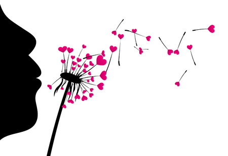 girl in love: Valentines love background with girl and dandelion with hearts. Vector illustration. Illustration