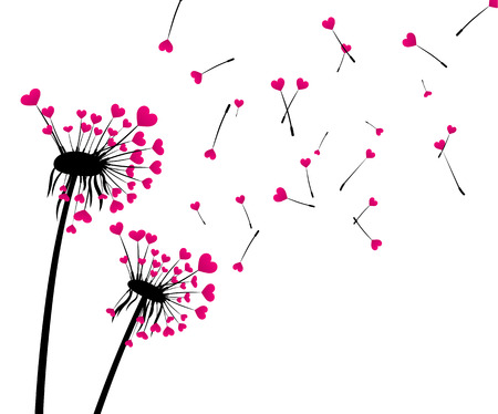 Valentines background with love dandelions with pink hearts. Vector illustration.
