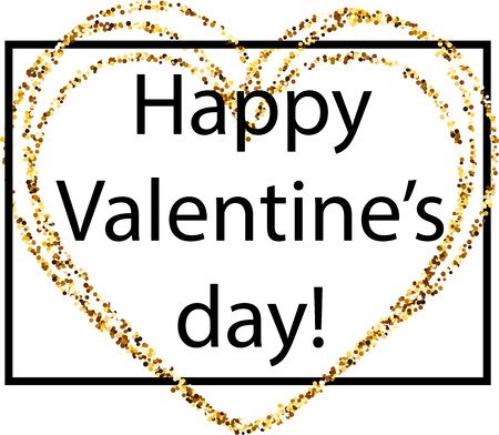pictured: Happy Valentines day card with golden heart. Vector paper illustration.