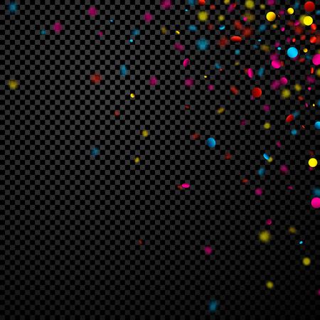 Black checkerboard festive background with colorful confetti. Vector illustration. Illustration