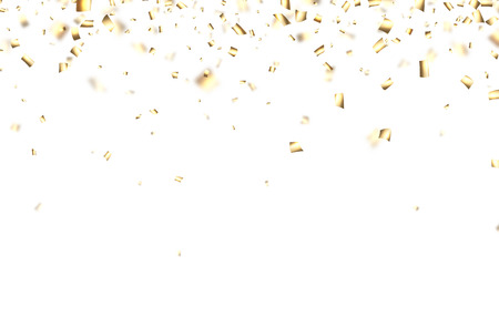 Witte feestelijke achtergrond met wazige gouden confetti. Vector papier illustratie.