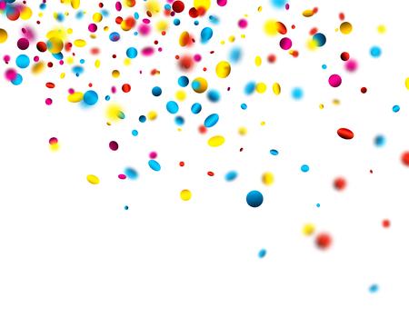 White festive background with blurred colorful confetti. Vector paper illustration.
