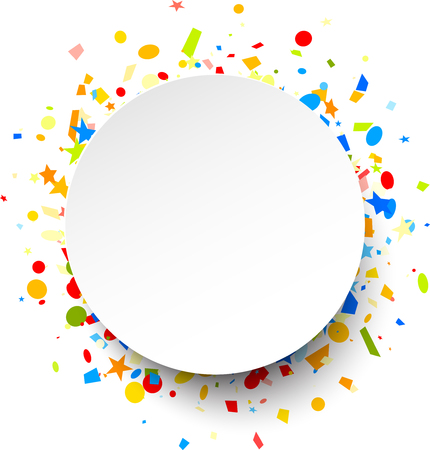 White round festive background with colorful figured confetti. Vector paper illustration.