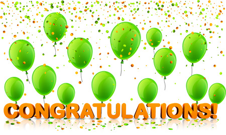 Congratulations 3d background with green balloons and confetti. Vector holiday illustration. Illustration