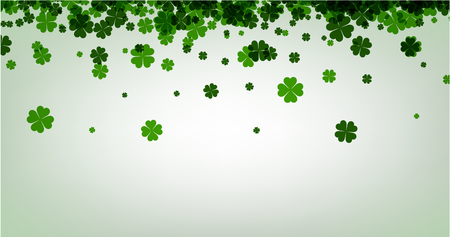 four leaved: Saint Patricks day background with four-leaved shamrocks. Vector paper illustration.