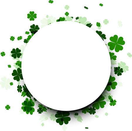 fourleaved: Saint Patricks day round background with four-leaved shamrocks. Vector illustration. Illustration