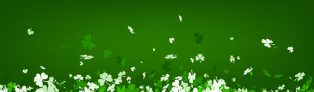 three leaved: Green Saint Patricks day banner with three-leaved shamrocks. Vector illustration. Illustration