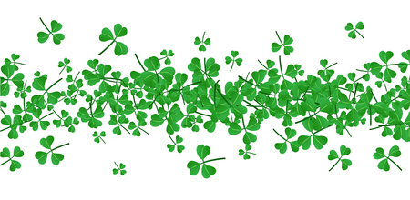 three leaved: Saint Patricks day banner with three-leaved shamrocks. Vector paper illustration.