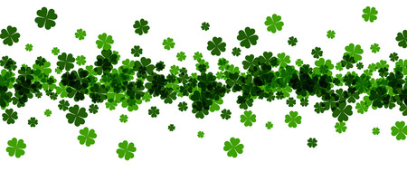celtic background: Saint Patricks day banner with four-leaved shamrocks. Vector paper illustration.