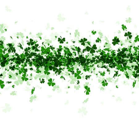 three leaved: Saint Patricks day background with three-leaved shamrocks. Vector paper illustration.