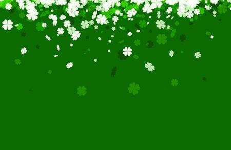 celtic background: Green Saint Patricks day background with four-leaved shamrocks. Vector illustration.