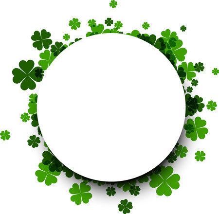 four leaved: Saint Patricks day round background with four-leaved shamrocks. Vector illustration. Illustration