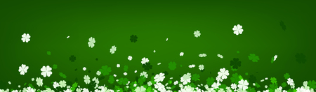 Green Saint Patricks day banner with four-leaved shamrocks. Vector illustration.