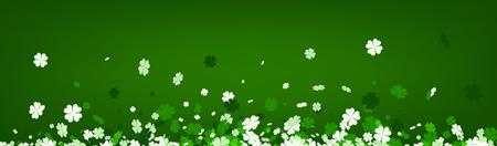 fourleaved: Green Saint Patricks day banner with four-leaved shamrocks. Vector illustration.
