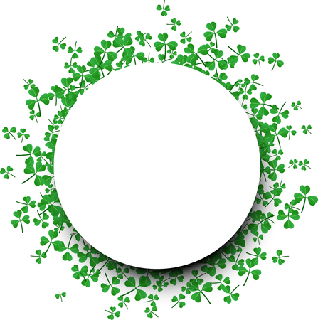 three leaved: Saint Patricks day round background with three-leaved shamrocks. Vector illustration. Illustration