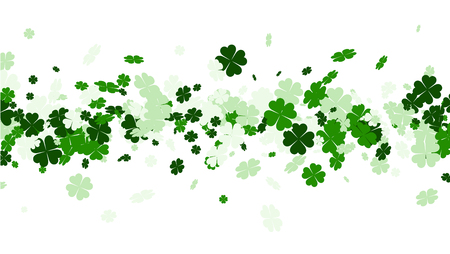 fourleaved: Saint Patricks day background with four-leaved shamrocks. Vector paper illustration.