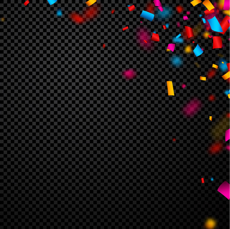 Festive checkered background with colorful confetti. Vector paper illustration. Illustration