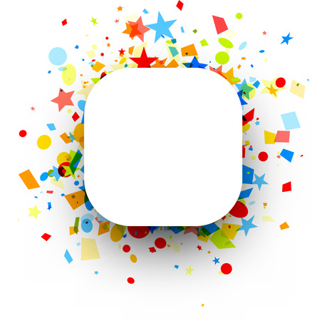 White square festive background with colorful figured confetti. Vector paper illustration.