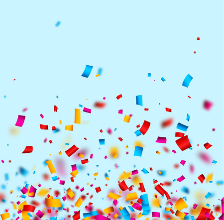 Festive blue background with colorful confetti. Vector paper illustration.