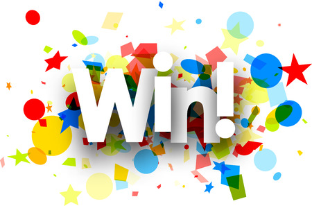Win paper background with colorful confetti. Vector illustration.