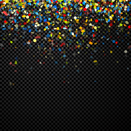 Festive checkered background with colorful figured confetti. Vector illustration.