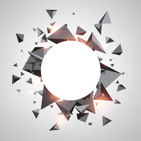 Abstract round background with gray 3d trigons. Vector geometric illustration. Illustration