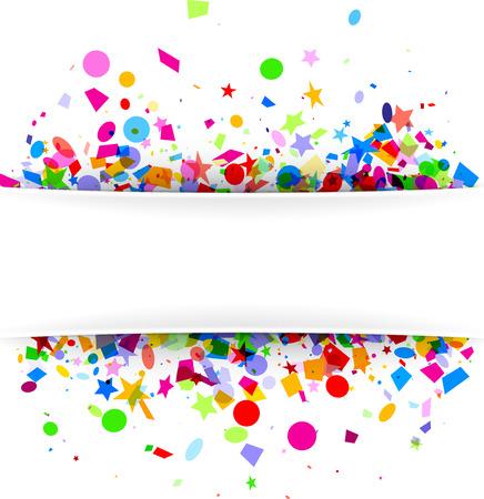 White festive background with colorful figured confetti. Vector paper illustration. Illustration