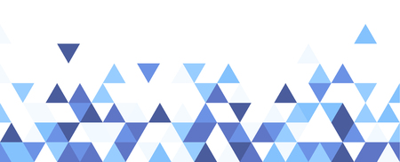 White graphic background with blue triangles. Vector paper illustration.