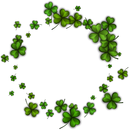 three leaved: St. Patricks day background with green three-leaved shamrocks. Vector illustration. Illustration