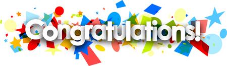 Congratulations paper banner with colorful confetti. Vector illustration.